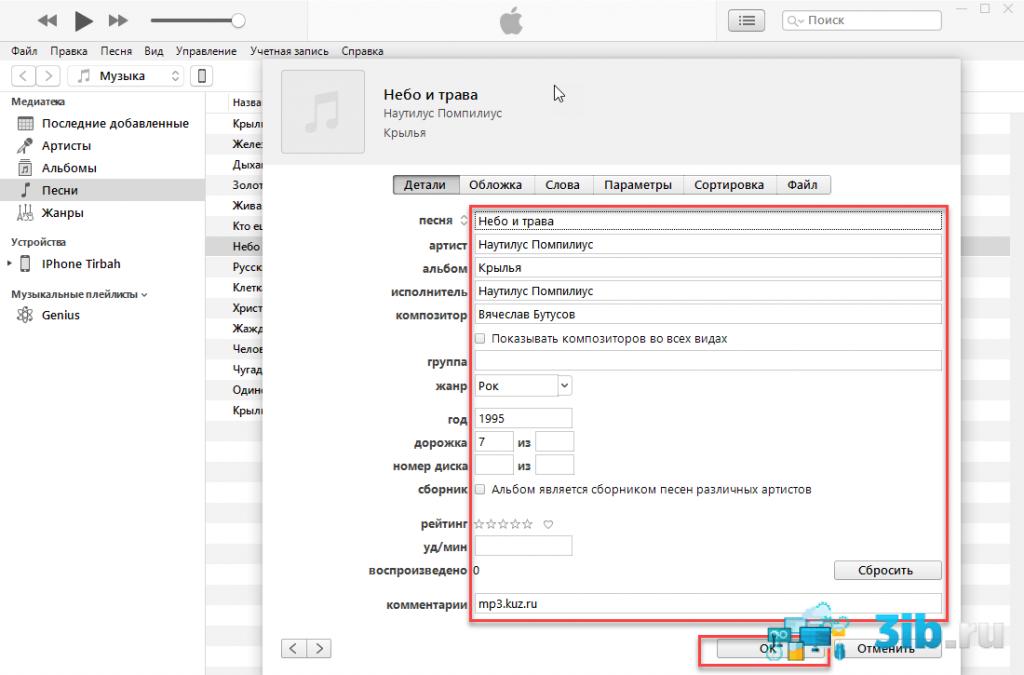 iTunes редактирование сведений о песнях