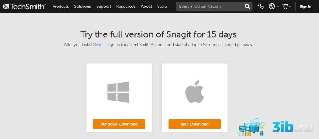 Загрузка программы SnagIt