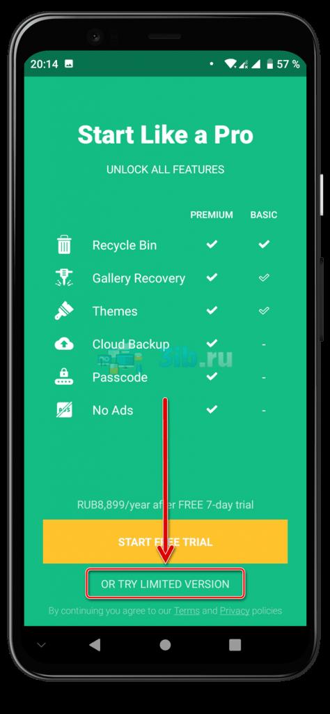 Приложение Dumpster Андроид выбор подписки