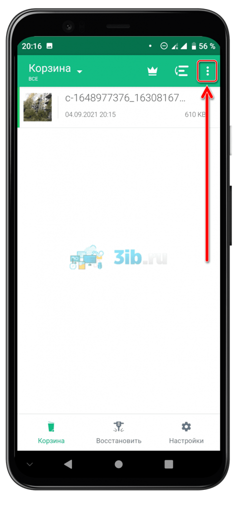 Приложение Dumpster Андроид корзина