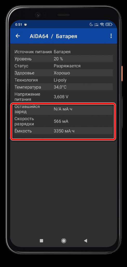 AIDA64 Android Емкость батареи